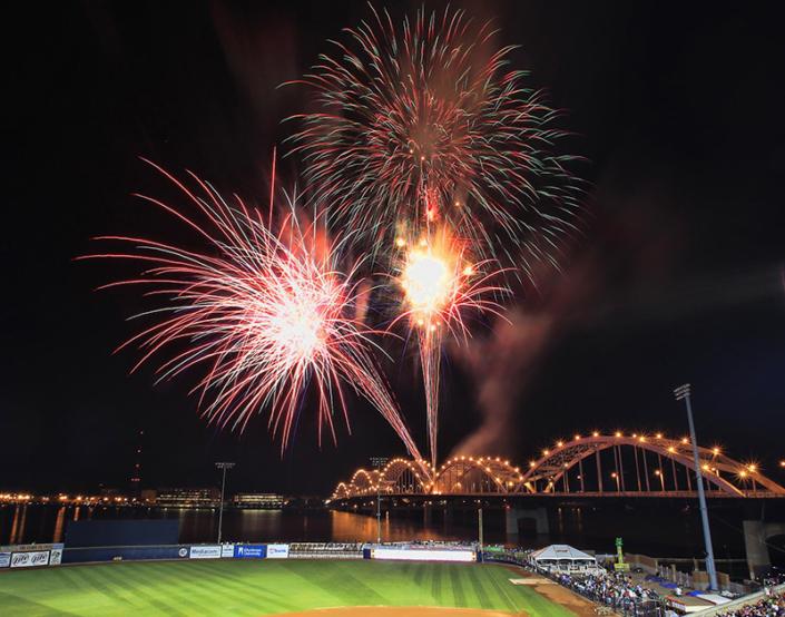 Fireworks in a field